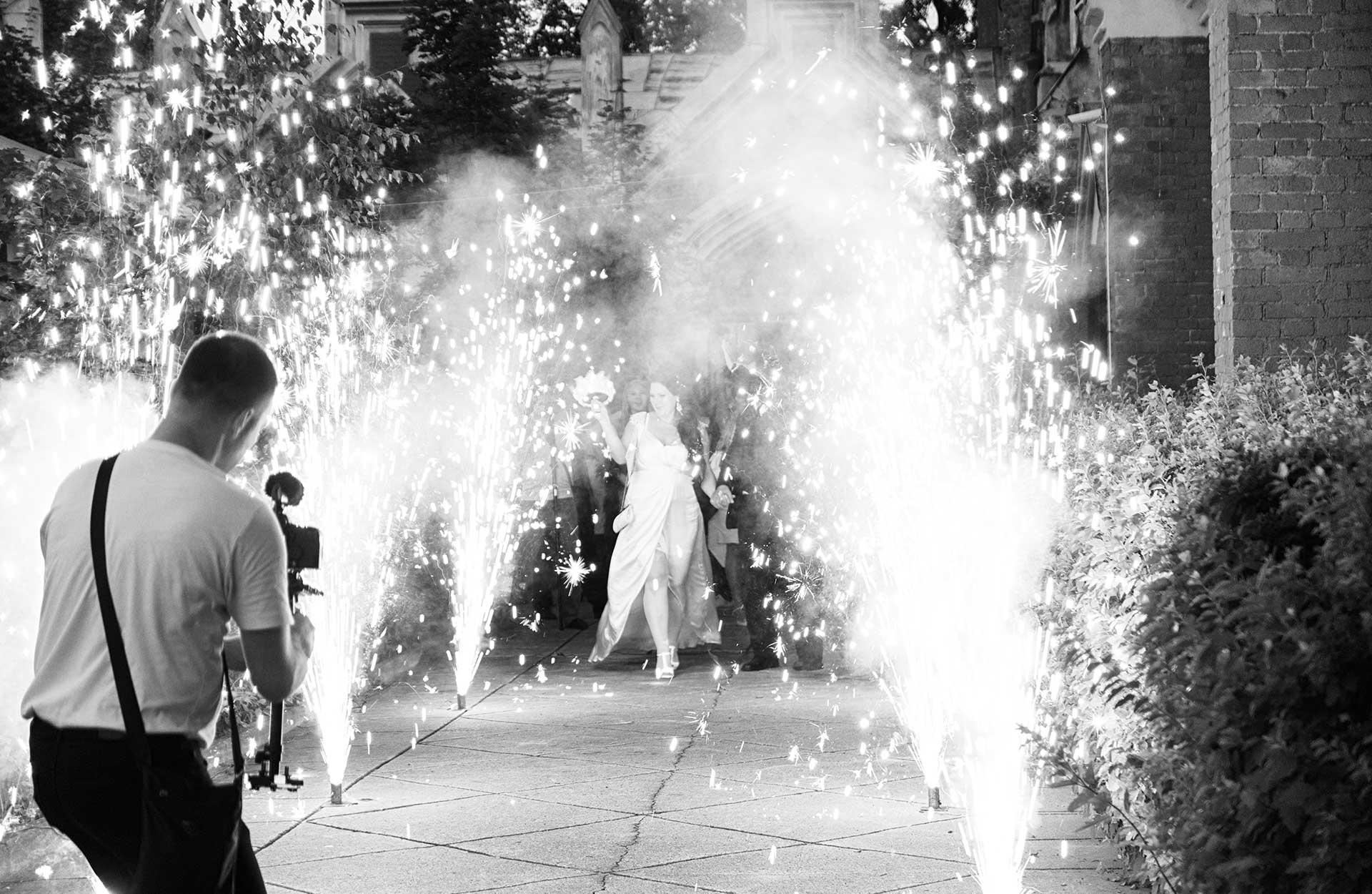 Bryllupsfest dansegulv fyrverkeri